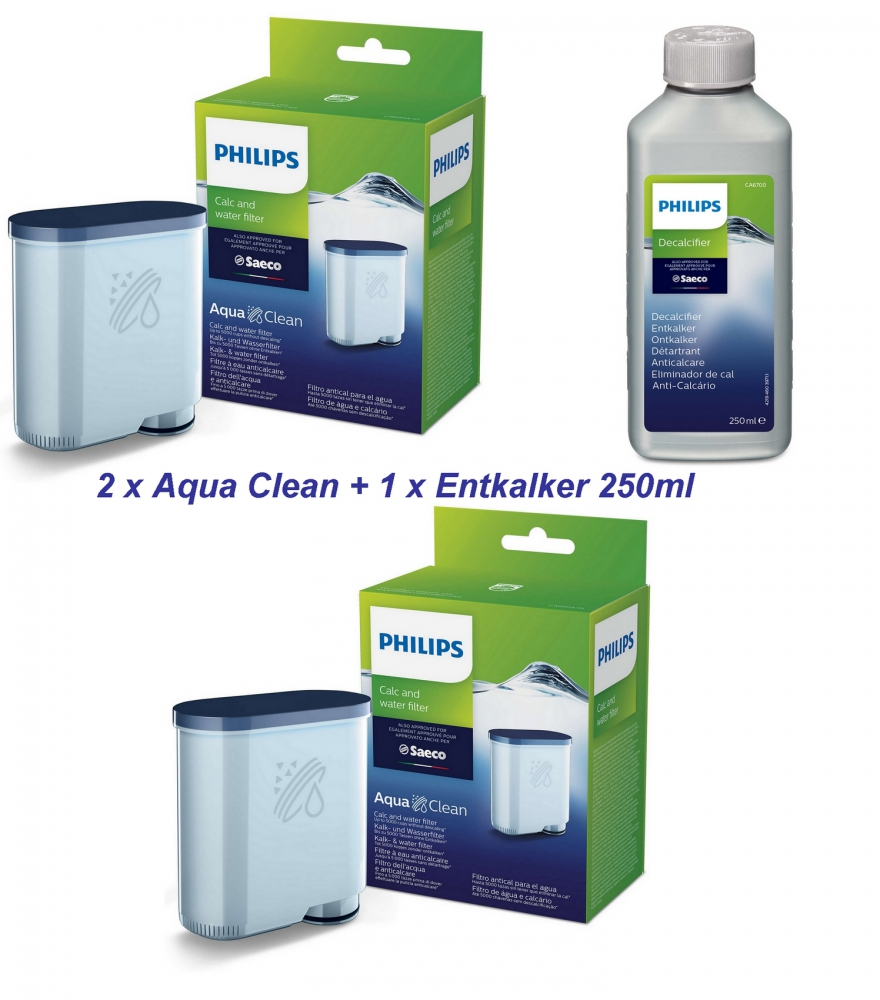 Bild 1 von 2x SAECO Philips Aqua Clean CA6903/10 + 1 x 250ml Saeco Entkalker Wartungs Set